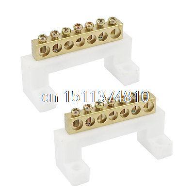 2 Pcs 400V 20A 7 Position Screw Barrier Terminal Block Bar Connector Replacement
