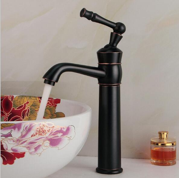 Free Shipping Black Antique Brass Basin Faucet Hot And Cold Basin Mixer Oil Rubbed Finish Bathroom Sink Faucet Mixer Tap FY free shipping orb black bathroom faucet sink basin faucet mixer tap cold and hot water taps dual handle antique brass jp119l