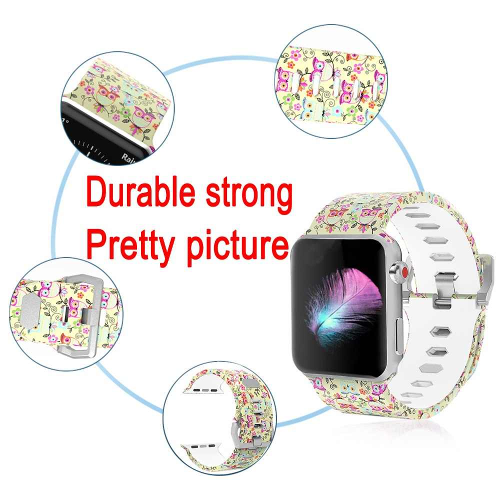 Bemorcabo סיליקון מודפס פרח שעון להקת צמיד עבור אפל שעונים 3 2 1 סדרת 38mm 42mm החלפת רצועה עבור אפל שעון