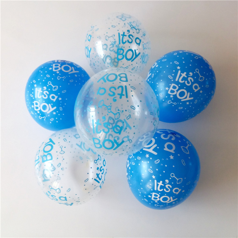 50pcs/lot It is a boy baby boy latex balloons for Birthday, 12inch 2.8g transparent and blue Baby shower Party Decoration