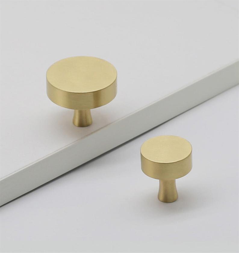 Round Brass Cabinet Knobs Handles Drawer Pulls Dresser Kitchen Cupboard Furniture Hardware