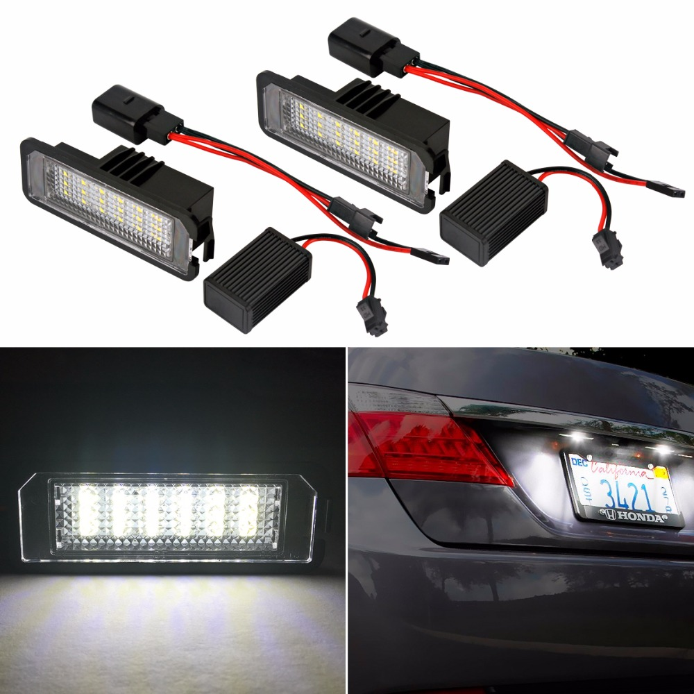 2x Accessories 18 LED License Plate Light Lamp For Volkswagen VW Golf Polo MK5 MK4 Passat White Bulbs Car ERROR FREE Light  high quality plastic and led bulbs 2pcs white error free 18 led license plate light lamp kit for vw golf eos passat polo phaeton