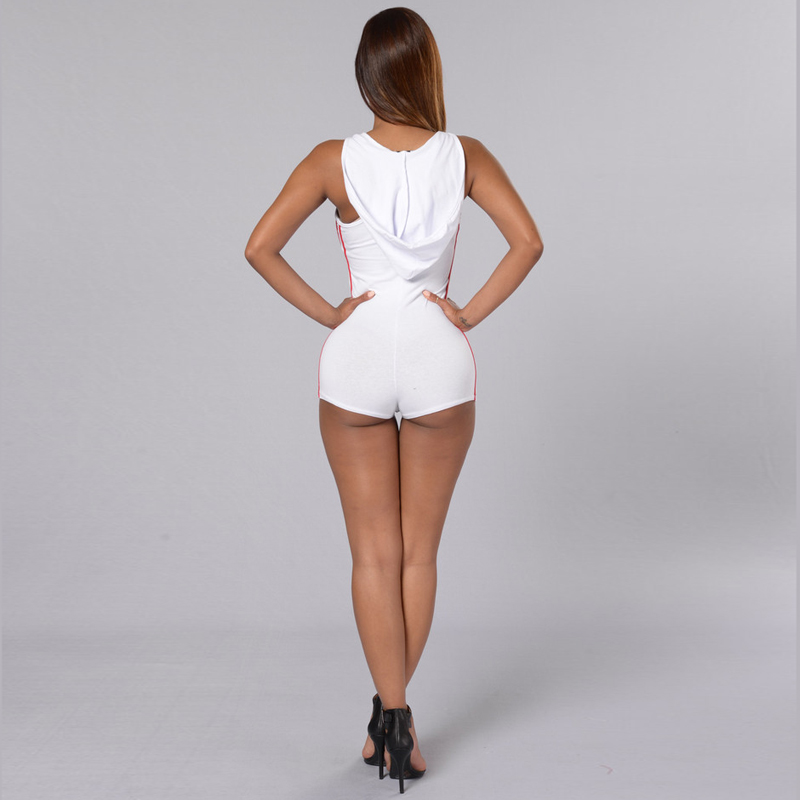 1f8516c9246 2016 New Night Club Jumpsuits Bodycon Women One Piece Sexy Hooded Fitted  Slim Playsuit White Black Playsuits Romper-in Rompers from Women s Clothing  ...