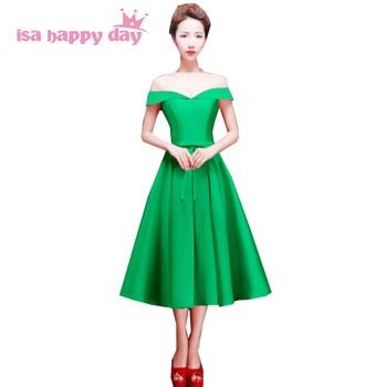 fashion formal off the shoulder brides maids modern women puffy party dresses tea  bridesmaid bridal dress green 2020 H2648
