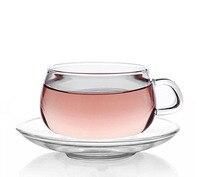 7oz 2PCS Heat Resistant Borosilicate Glass Tea Espresso Handle Cup Coffee Drinkware Glassware With Sauce