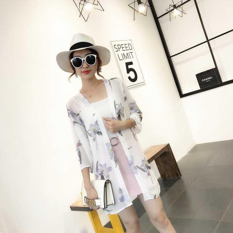 Moda Kadın Gömlek Kollu Blusas Ceket Uzun Gevşek Rahat Güneş Koruyucu Kırpılmış Şifon Hırka Baskı Kimono