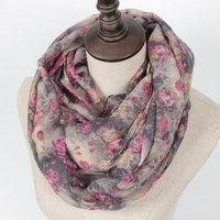 2016 Women Flower Loop Scarf Female Small Rose Print Chevron Ring Scarves Winter Plants Infinity Shawl