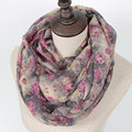 Guttavalli Hot SellinWarm Women Flower Loop Scarf Female Small Rose Print Chevron Ring Scarves Winter Plants Infinity Shawl Wrap