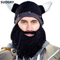 Funny Hat Personalized Beanie Wind Mask Knit Cap Bearded Viking Horns Hat