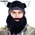 Sombrero divertido Personalizada Viento Máscara Gorro de lana Beanie Barbudo de Viking Cuernos Sombrero