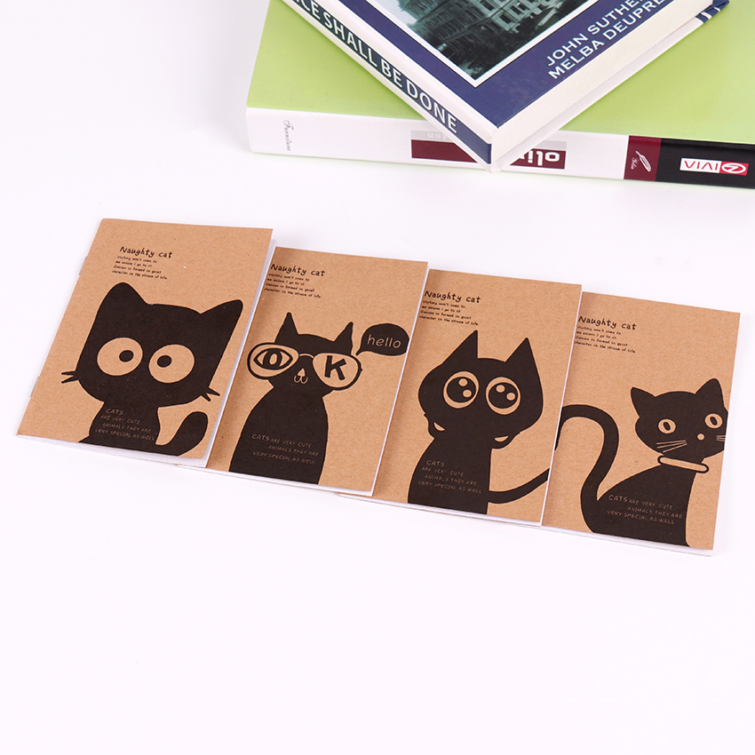 Cowhide Paper Vintage Black Cat Filofax Notepad Journal Kraft Paper Blank Notebook Office School Stationery Supplies