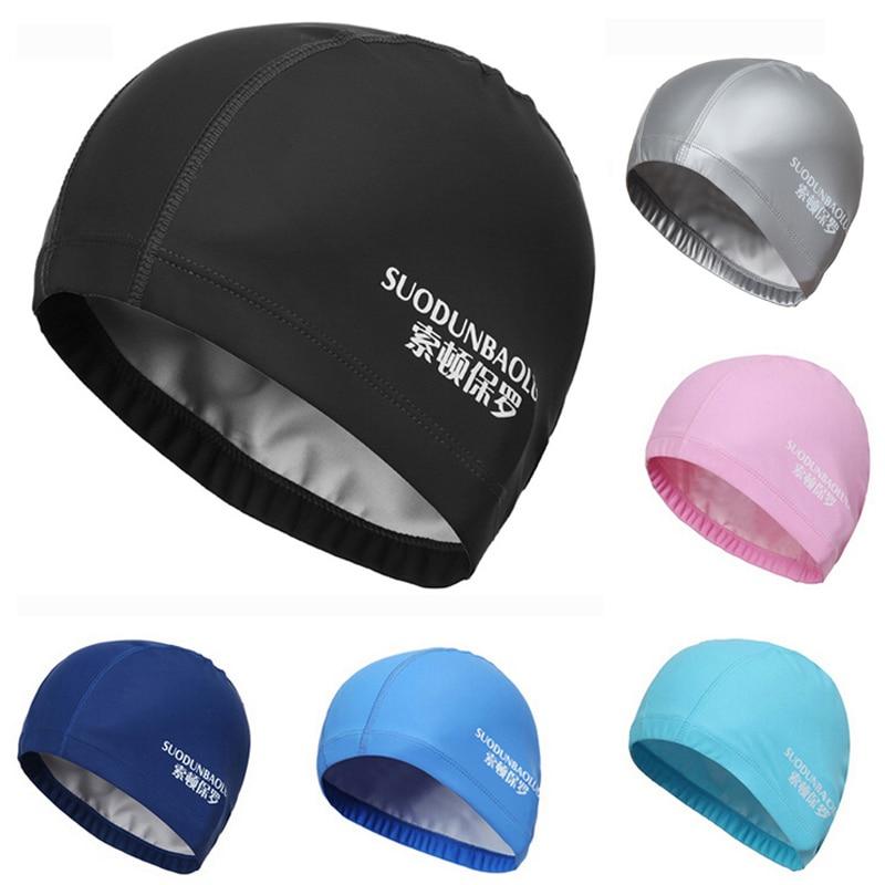מבוגרים נשים נשים גבירותיי PU ציפוי בד ארוך שיער הגנה Waterproof בריכת שחייה רחצה כובע שחיה כובע גדול לנשים גברים