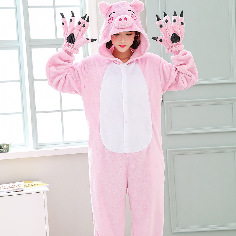 Cute Pink Pig Women Pajamas Onesies For Night-suit Set At Home Party Adult Kigurumi For Halloween Cosplay Siamese Costume   (5)