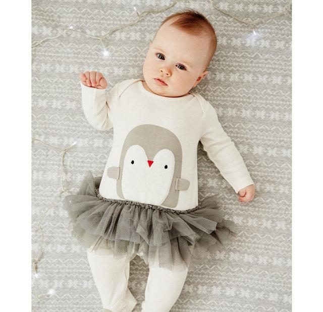 Primeiro Aniversário laceTutus pinguim impressão de Festa Infantil Macacão de Bebê Roupa Infantil Roupas Bebê Recém-nascido Romper Menina Macacão Bebe