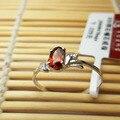 Мода смазливая эллиптической формы натуральный красный гранат кольцо стерлингового серебра 925 природных полудрагоценных драгоценного камня женщины обручальное кольцо