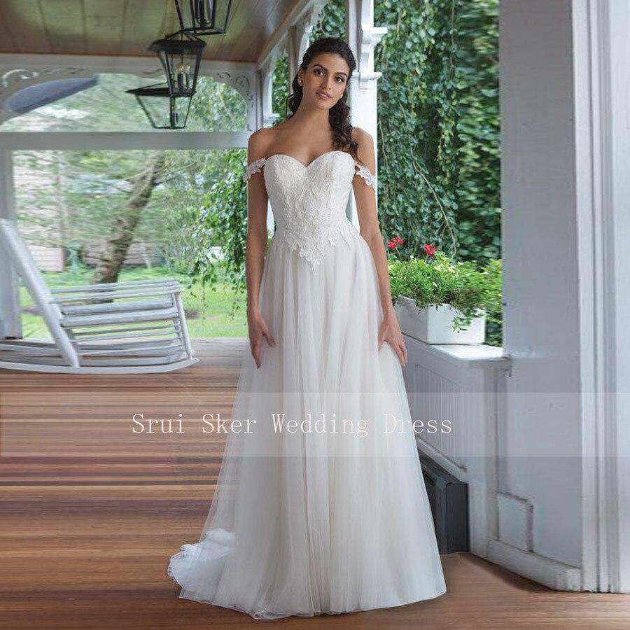 Backless Lace Wedding Dress Off the Shoulder A Line Gowns Appliques Bridal Dresses Button Back Tulle Dress-in Wedding Dresses from Weddings & Events