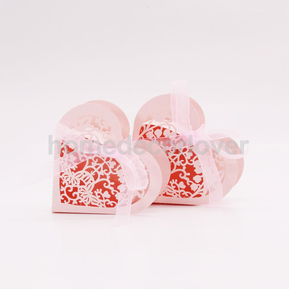 20x Heart Paper Cut Candy Sweet Box w/ Ribbon Wedding Party Favor ...