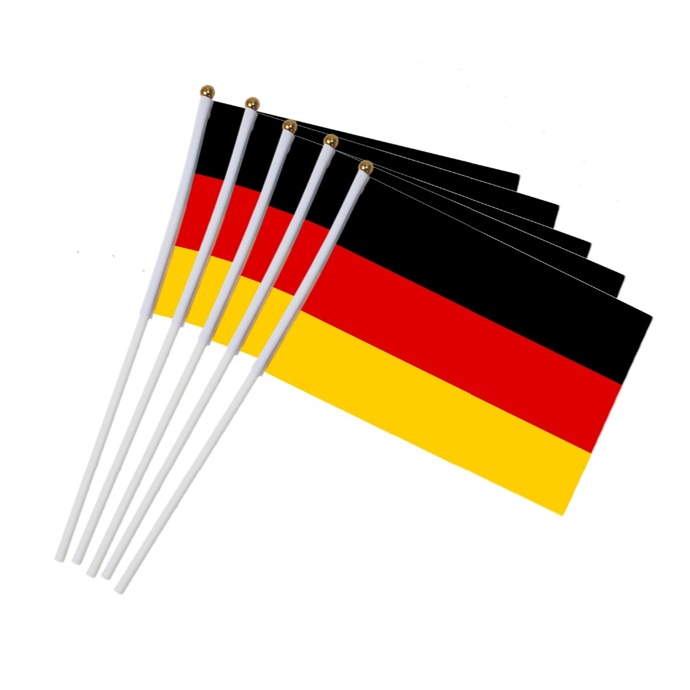 14x21cm  5pcs German flag hand waving flags with Plastic Flagpoles  NN015
