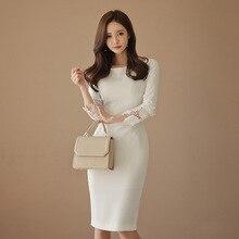 Женское лоскутное белое кружевное платье, весна, одноцветное, с длинным рукавом, винтажное, сексуальное, Бандажное, бодикон, платья знаменитостей, Vestidos De Festa