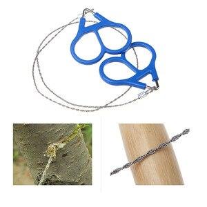 Image 5 - נירוסטה יד כיס שרשרת חוט מסורים נייד הישרדות חיתוך כלים קמפינג Handsaws כחול 65 cm