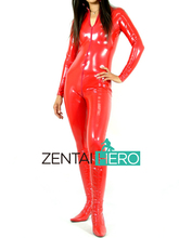 Free Shipping DHL Custom Made New Arrival Sexy Red PVC Zentai Catsuit  Zentai Suit For Halloween Party Front Zipper ZP1508