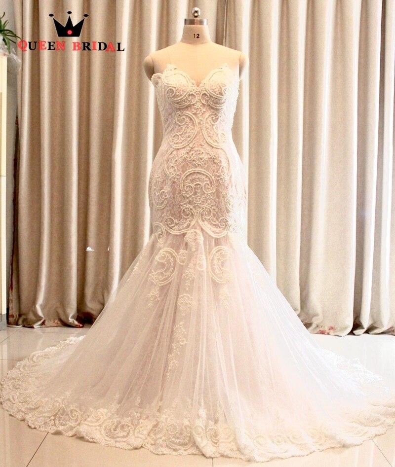 Custom Made 100 Real Photo Mermaid Cap Sleeve Lace Pearls Sexy Romantic Wedding Dresses Vestido De
