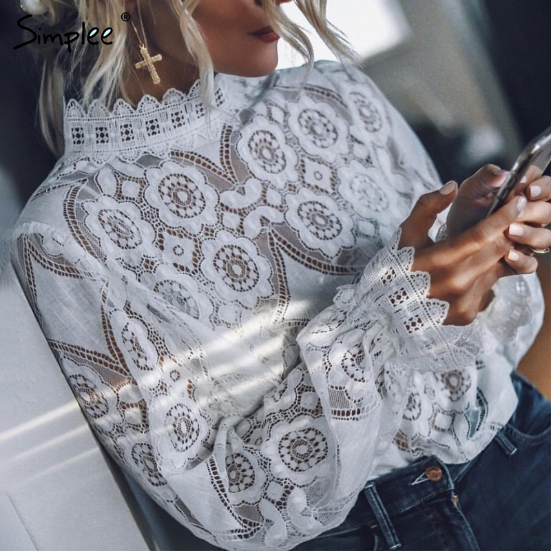 Simplee Elegant lace hollow out women   blouse     shirt   Sexy embroidery lantern sleeve white   blouse   Summer transparent top female