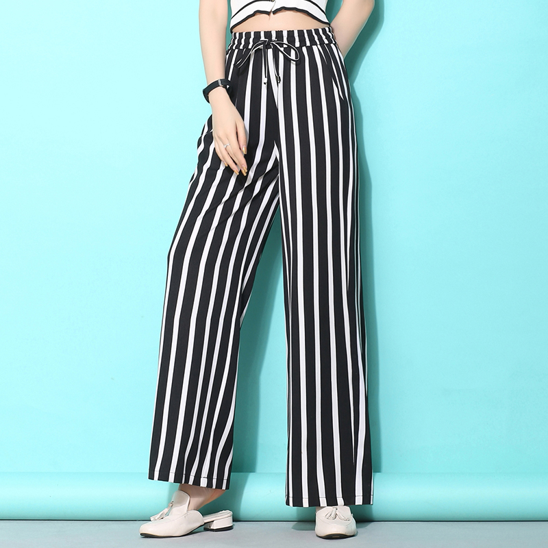 Women   Wide     leg     pants   spring and summer thin vertical stripes   pants   loose and thin   wide     leg   straight   pants
