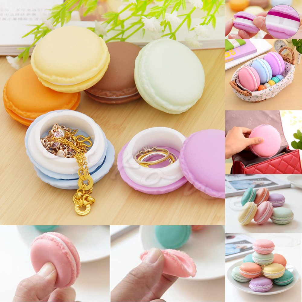 Lovely Macaron Cake Shape Ring Necklace Earrings Jewelry Storage Display Box