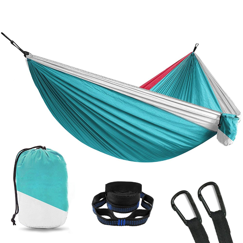 Double Person Portable Hammock Parachute Portable Outdoor Camping Indoor Home Garden Sleeping Ultralight Hammock Bed Hamac