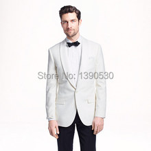 HOT SELLING 100% wool white one button with shawl lapel jacket+black pants wedding suits