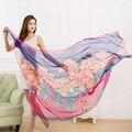 Free shipping new long Korean fashion flower print chiffon scarf women winter scarves shawls desigual wraps 190*150cm