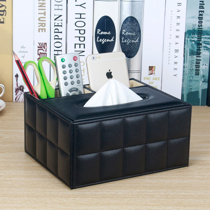Leather PU Multifunction Desk Organizer Office Desk Storage Box Black Classic Pencil Holder Stationery Collection Boxes