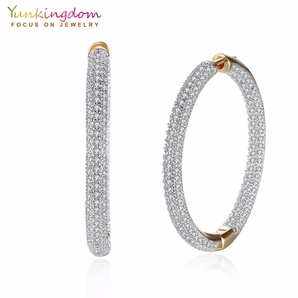 Yunkingdom Pave White Cubic Zirconia Crystals Big Circle Hoop Earrings for Women Fashion Party Queen Jewelry faux pearl bead circle hoop earrings