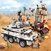 Enlighten New Military Legoe Educational Building blocks Stacking Toy Children Gift Armored Vehicle Car Weapon Minigun UN Force