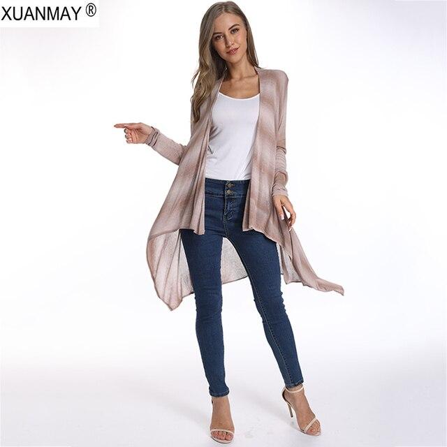 2019 סטרטייאר של קיץ נשים קרדיגן סוודר סוודר ארוך שחור קארדגן פשתן אלגנטי בד פשתן קרדיגן סוודר