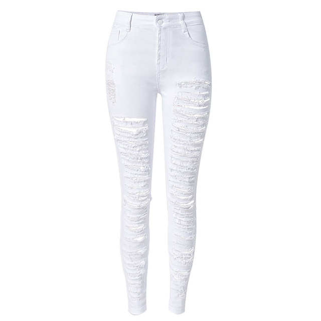 new ladies white ripped jeans woman skinny high waist. Black Bedroom Furniture Sets. Home Design Ideas