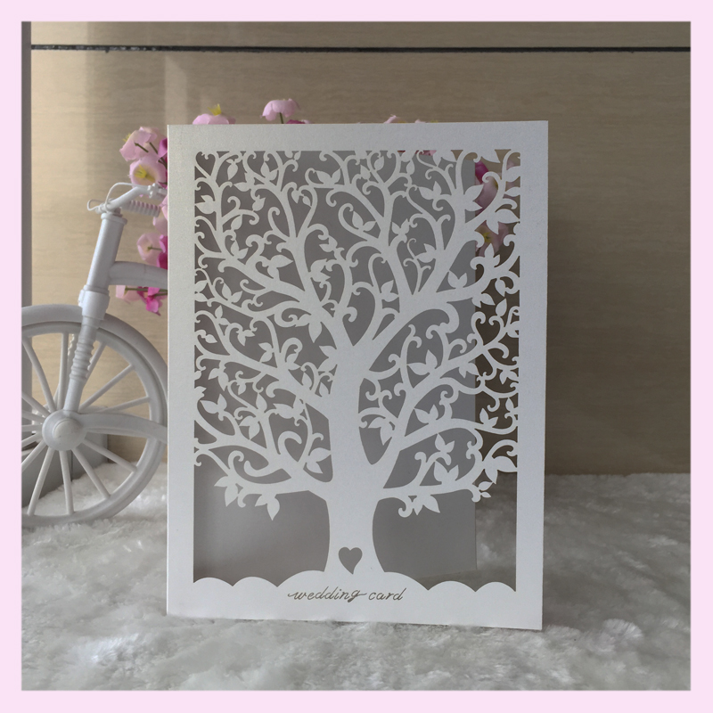 100pcs Lot Laser Cut Love Tree Wedding Invitation Card Greeting Party Custom Name And Date Decoration In Cards Invitations From