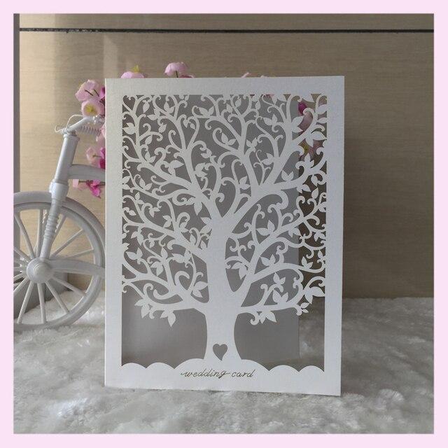 100pcs Lot Laser Cut Love Tree Wedding Invitation Card Greeting Party Custom Name