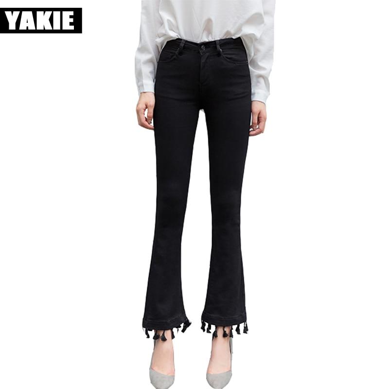 2017 Women High Waist denim Jeans Woman skinny flare Pants full Length tassel Pants High Waist Jeans Plus Size black jeans femme