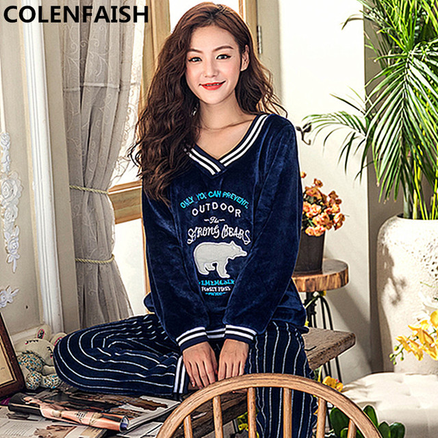 48640cffc5 Winter Thick Warm Flannel Pajamas Sets for Women Long Sleeve V-neck Coral  Velvet Pyjama Cute Cartoon Sleepwear Plus SizeM-5XL