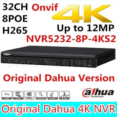 Free shipping New Dahua 32CH 1U 4K&H.265 1080P NVR support 2HDD 8 poe port Onvif NVR5232-8P-4KS2 up to 12MP resolution dahua 32ch nvr 16 poe 2u case 8 sata 1080p 200mbps gigabit rj45 android ios
