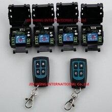 Interruptor de Control remoto inalámbrico RF DC 12V 1CH 10A 4 Uds receptor y 2 uds transmisor Ligh witch relay casa inteligente z wave