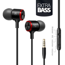 Mobile phone wire headset extra bass straight line PC subwoofer earphones in ear metal sports music phone earphone with Mic