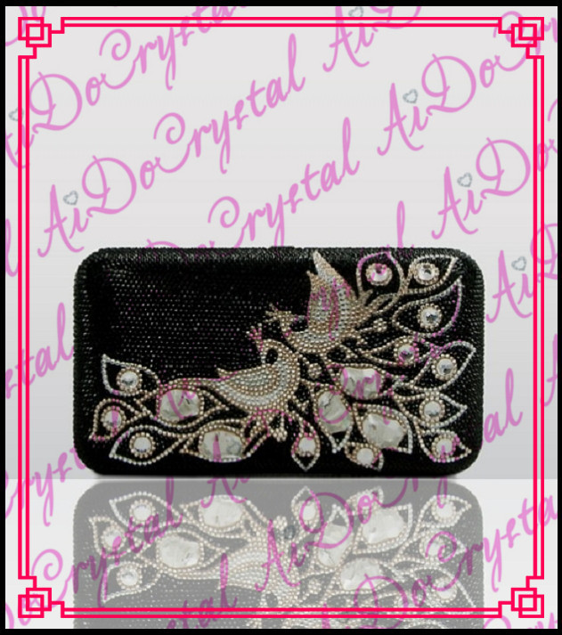 Aidocrystal peacock pattern ladies popular hard clutch black evening bag for women