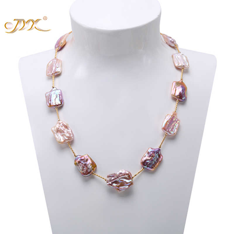 JYX Baroque Pearl Necklace 16.5-22mm  Natural Lavender South Sea  Necklace  AAA Party Wedding Jewery