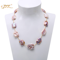JYX Baroque Pearl Necklace 16.5 22mm Natural Lavender South Sea Necklace AAA Party Wedding Jewery