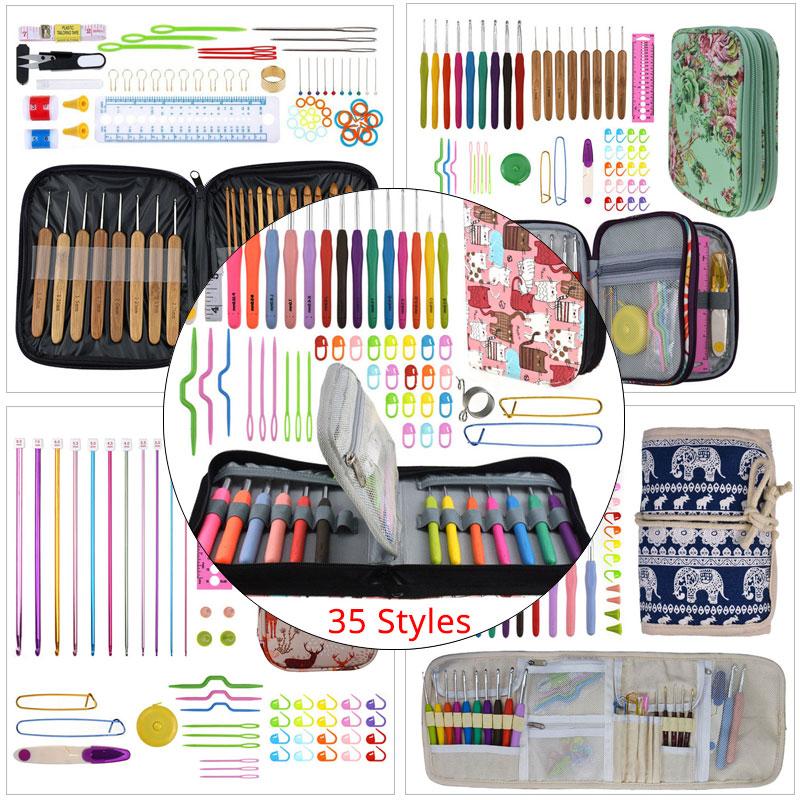 Prémio crochê ganchos conjunto com caso 35 estilos agulhas de tricô conjunto diy agulha artes artesanato tesoura ponto marcadores ferramentas costura