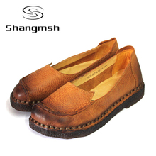 2016 Solid Genuine Leather Flat Shoe Women Loafers Female Chinese Slip On  Casual Shoes Soft Autumn Handmade Shoes Women Flat