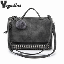2017 Shoulder Bags Crossbody New Fashion Leather Handbag for Women Messager Rivet Ladies Black Tote Big Casual Bag